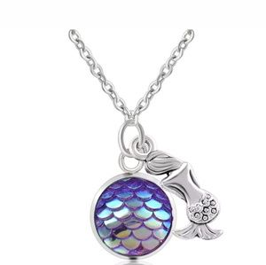 Purple mermaid fish scale silver necklace NWT